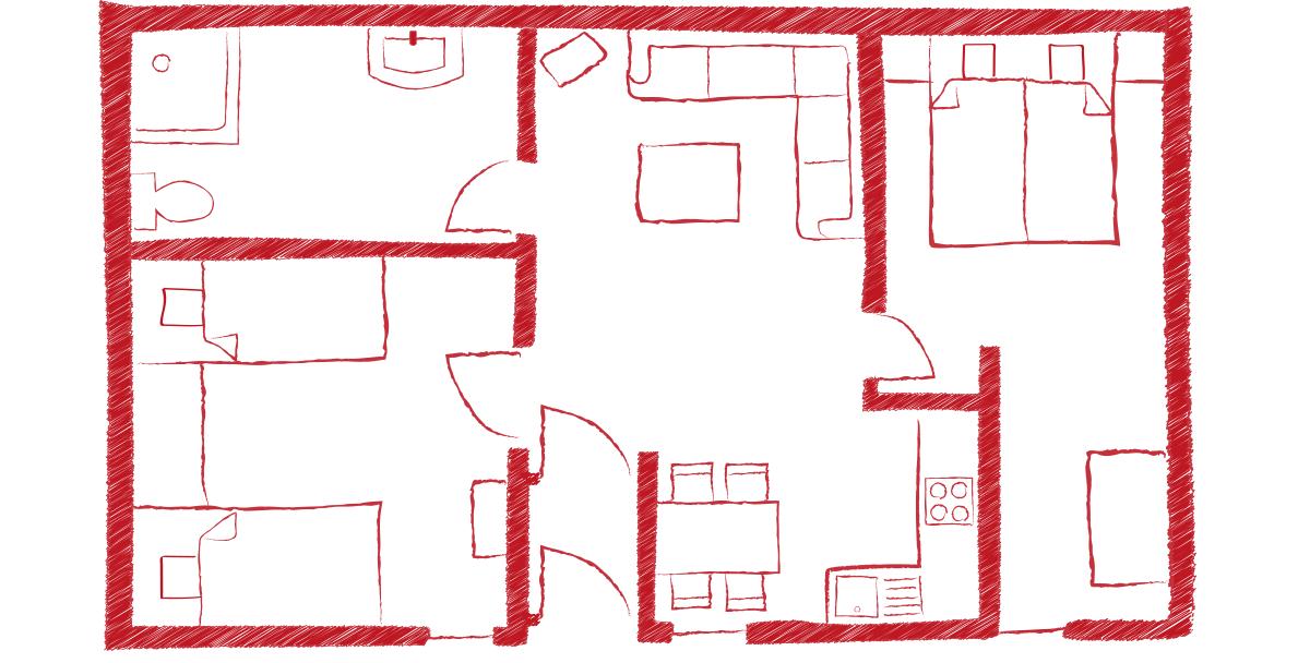 Grundriss Ferienwohnung 1 bei der Scheune